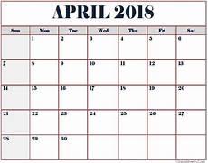 Month Printable Calendar April 2018 Calendar Free Printable