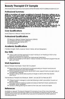 Spa Therapist Cv Beauty Therapist Cv Sample Myperfectcv