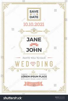 A5 Invitation Template Vintage Wedding Invitation Card A5 Template Stock Vector