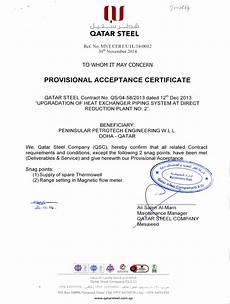 Sample Of Certificate Of Acceptance Certificates Peninsular Petrotech Engineering W L L
