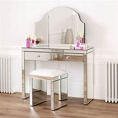 venetian mirrored dressing table set with white stool