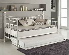 versailles day bed and trundle black white metal
