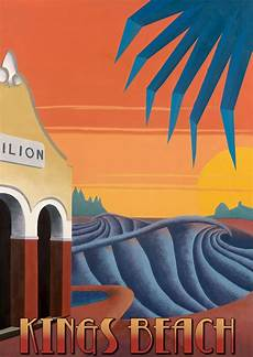 kings beach art deco surf poster by scott denholm artdeco
