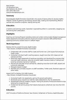 Resume For A Promotion 1 Health Promotion Coordinator Resume Templates Try Them