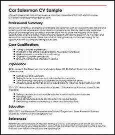 Automotive Cv Car Salesman Cv Example Myperfectcv