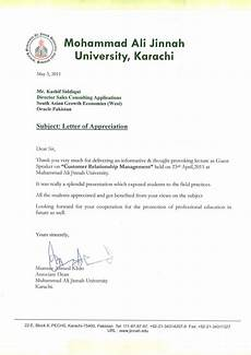 Letter Of Appreciation Format Letter Of Appreciation For Lecture