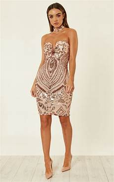 Light Gold Sequin Dress Rose Gold Luxe Sweetheart Plunge Sequin Embellished Midi