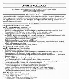 Trucking Resume Examples Transportation Specialist Resume Sample Livecareer
