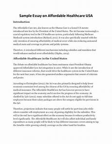 Essays About Health Sample Essay On Affordable Healthcare Usa
