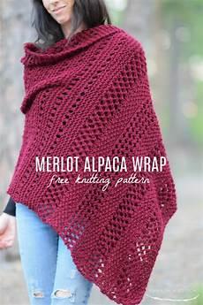 merlot alpaca wrap shawl knitting pattern in a stitch