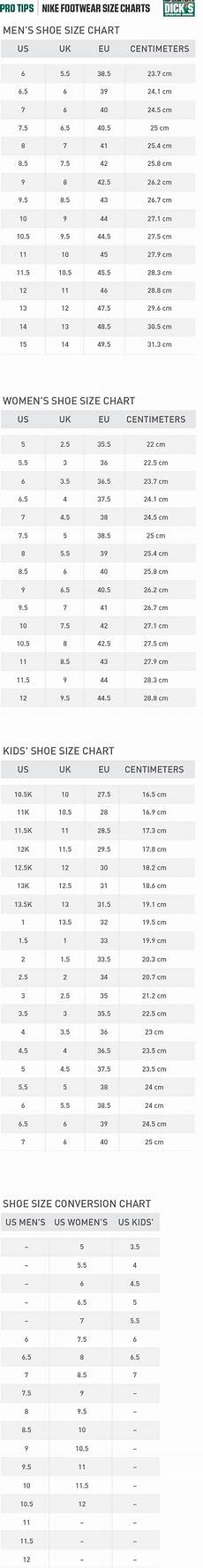Nike 7y Size Chart Nike 174 Footwear Size Charts Pro Tips By S Sporting Goods