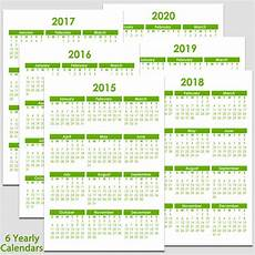 Yearly Calendar 2015 2020 2020 2015 Amp 2020 Yearly Calendar 5 1 2 Quot X 8 1 2 Quot Legacy