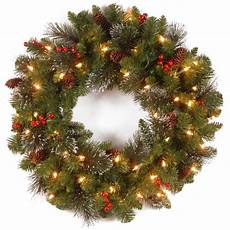 Outdoor Christmas Wreaths With Led Lights National Tree Company Crestwood Spruce 24 In Artificial