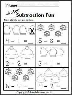 free subtraction worksheet great winter math activity