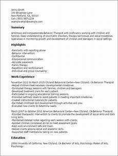 Resume For Therapist Behavior Therapist Resume Template Best Design Amp Tips