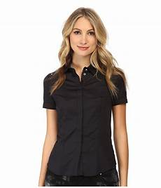 lyst versace sleeve button up blouse in black