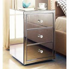roma mirrored bedside table chest 3 drawer mirrored
