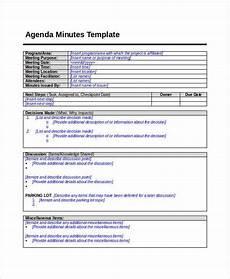 Minutes Agenda Template 9 Agenda Minutes Templates Free Word Pdf Format