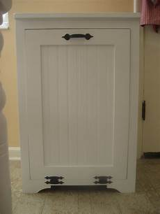 white tilt out wood trash can cabinet diy projects
