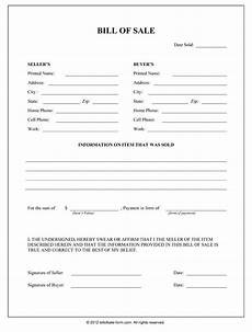 Bill Of Sale Doc Free Printable Bill Of Sale Form Form Generic