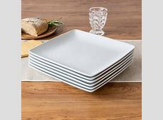 Better Homes and Gardens Coupe Square Dinner Plates, White