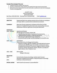 A Chronological Resumes Chronological Resume Format The Complete Guide Hloom