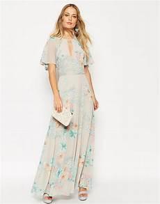 flutter sleeve maxi dress cookbooks lyst asos 70 s faded floral flutter sleeve maxi dress