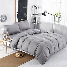 home textiles light grey solid color style bedding sets 3