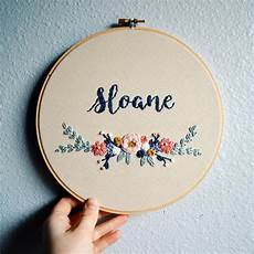 floral baby name embroidery hoop custom name sign