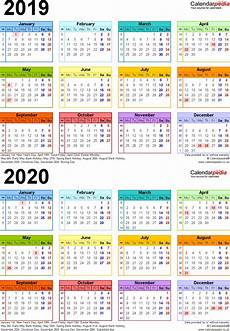 2020 Calendar With Two Year Calendars For 2019 Amp 2020 Uk For Pdf