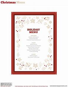 Free Blank Christmas Menu Templates Free Printable Holiday Dinner Decor Blog Botanical