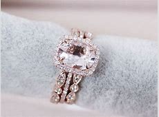 3 Rings Set VS 7x9mm Pink Morganite Wedding Set by