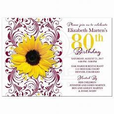 80th Birthday Invitation Burgundy Yellow Sunflower 80th Birthday Invitation