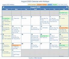August 2020 Calendar With Holidays Print Friendly August 2020 Us Calendar For Printing