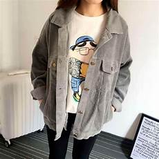 itgirl shop corduroy gray pink collar outwear aesthetic