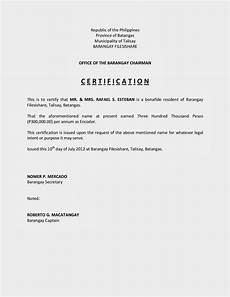 Sample Of Certificate Of Acceptance Certification Of Income Sample Filesishare