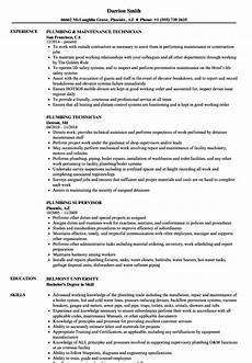 Plumbing Resume Samples Plumbing Resume Samples Velvet Jobs