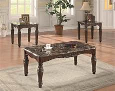 Cf Furniture Living Room 3 Set L Table by Cherry Finish Classic 3pc Coffee Table Set W Faux Marble Tops