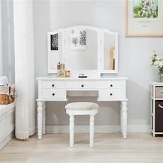 folding mirror vanity white dressing table set makeup desk