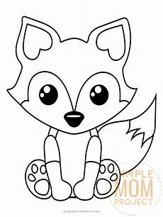 Malvorlage Tiere Einfach Free Printable Baby Fox Coloring Page Simple Project