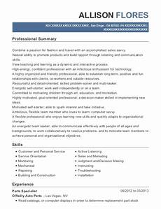 Resume O O Reilly Auto Parts Parts Specialist Resume Sample San