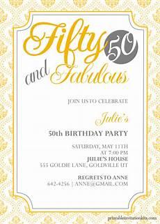 50th Birthday Invites Templates Fifty And Fabulous 50th Birthday Invitation Wedding