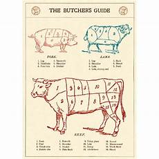 Beef Cuts Chart Poster Butchers Guide Beef Cuts Vintage Style Poster Ephemera Ebay
