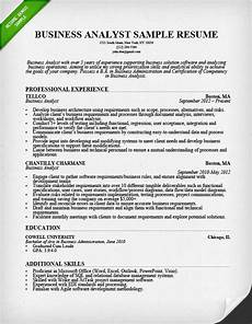 Business Resume Samples Business Analyst Resume Sample Amp Writing Guide Rg