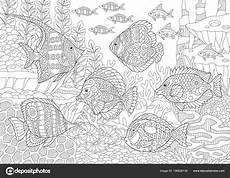水中の海の世界 異なる種の熱帯魚の群れ 着色のページ 大人の塗り絵のアイデア 抗ストレスのフリーハンド スケッチ集