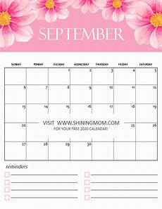 Calendar 2020 September Printable Free Calendar 2020 Printable 12 Cute Monthly Designs To Love