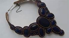 embroidery necklace with seed and lapis lazuli