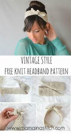 vintage knit tie headband pattern in a stitch