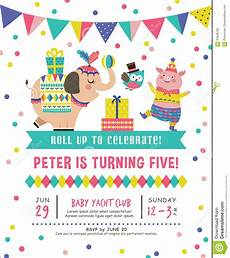 Toddler Birthday Invitation Kids Birthday Invitation Card Stock Vector Illustration