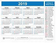 2020 Calendar With Holidays Printable Free Printable 2019 Calendar With Holidays